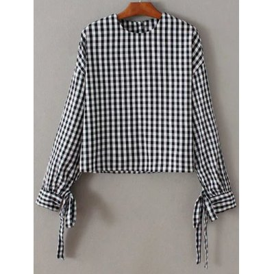 Checked Back Button Fly Blouse