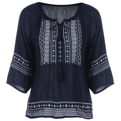 Embroidery Loose Peasant Blouse