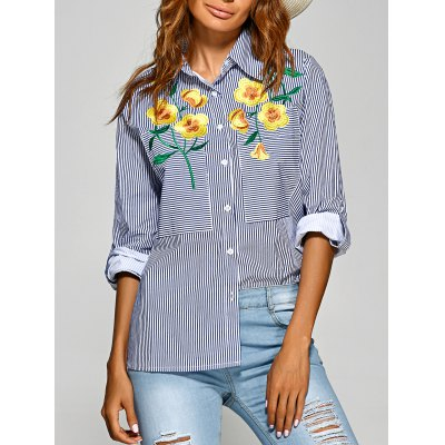 Embroidery Striped Shirt