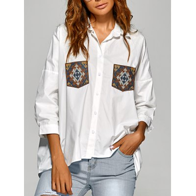 Drop Shoulder Shirt with Embroidery