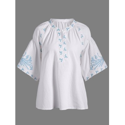 Embroidered Loose Peasant Blouse