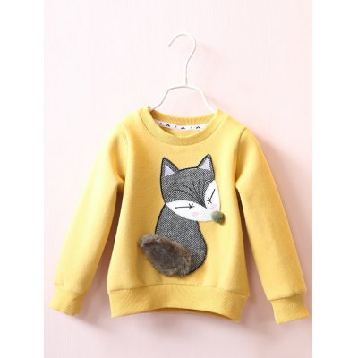 Hairball Faux Fur Embellished Fox Embroidered Sweatshirt