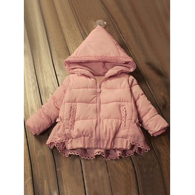 Hooded Lace-Trim Padded Coat