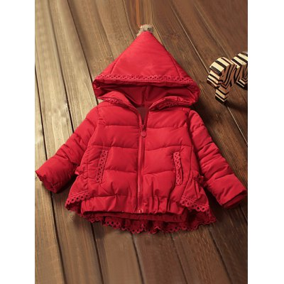 Zip Front Hooded Lace-Trim Padded Coat