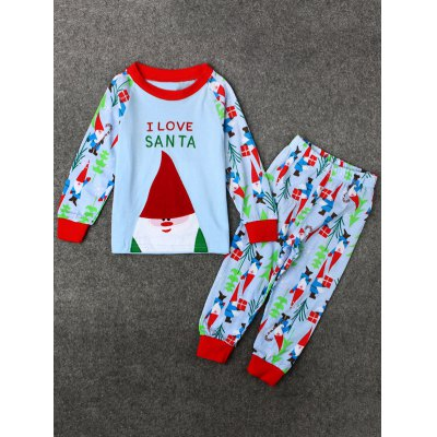 Christmas Long Sleeve Santa Clause T Shirt Pants Pajamas Sets
