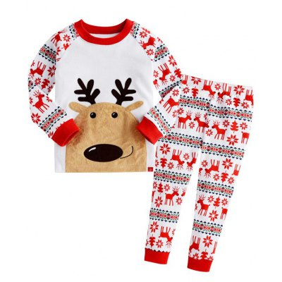 Christmas Crew Neck Deer T Shirt Pants Pyjamas Sets