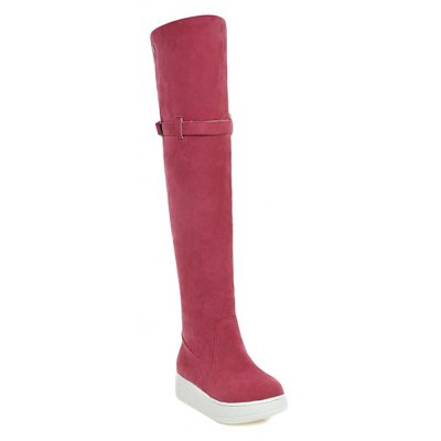 Buckle Strap Round Toe Thigh Boots