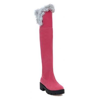 Faux Fur Chunky Heel Thigh Boots