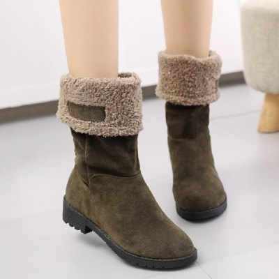 Low Heel Fold Down Mid-Calf Boots