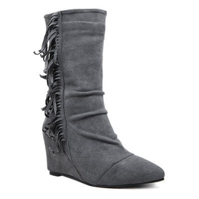 Wedge Heel Pointed Toe Suede Fringe Boots