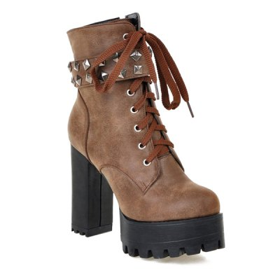 Metal Rivets Chunky Heel Ankle Boots