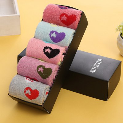 One Set Love Pattern Macarons Candy Color Socks