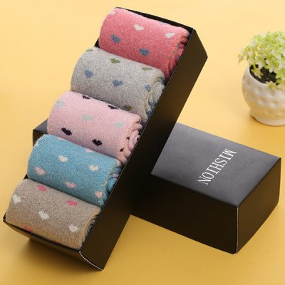 One Set Little Hearts Pattern Macarons Candy Color Socks