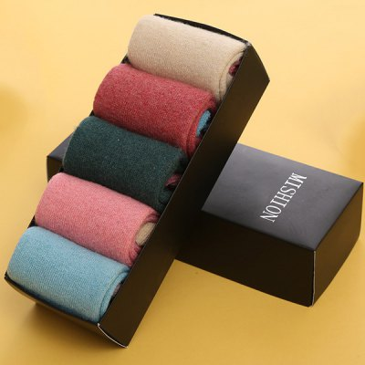 One Set Flanging Pure Color Thicken Socks