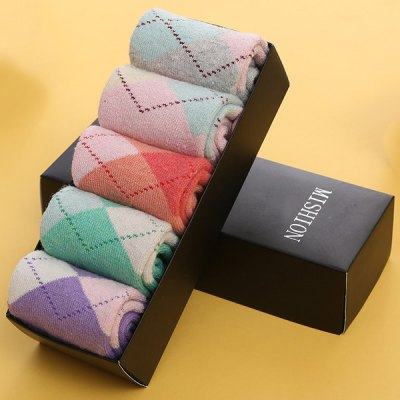 One Set Diamond Pattern Macarons Candy Color Socks