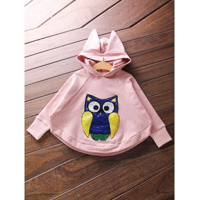 Wide Waist Owl Embroidered Hoodie