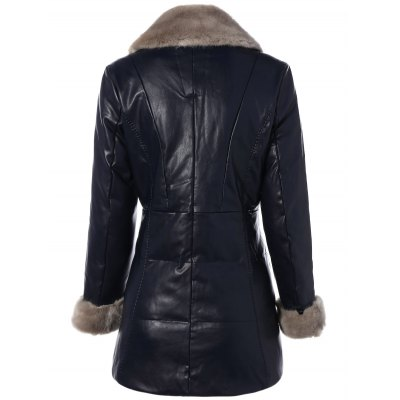 Winter Faux Fur Collar PU CoatPlus Size Outerwear<br>Winter Faux Fur Collar PU Coat<br><br>Clothes Type: Leather &amp; Suede<br>Material: Faux Leather<br>Type: Slim<br>Clothing Length: Regular<br>Sleeve Length: Full<br>Collar: Turn-down Collar<br>Closure Type: Zipper<br>Pattern Type: Solid<br>Embellishment: Fur<br>Style: Fashion<br>Season: Winter<br>With Belt: No<br>Weight: 1.520kg<br>Package Contents: 1 x Coat