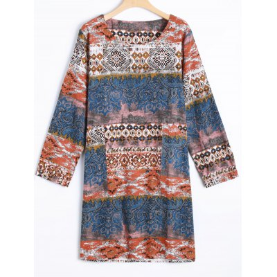 Printed Long Sleeve Shift Tribal Dress