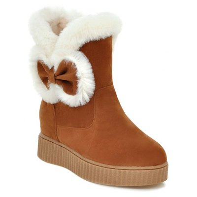 Faux Fur Bowknot Increased Internal Snow Boots