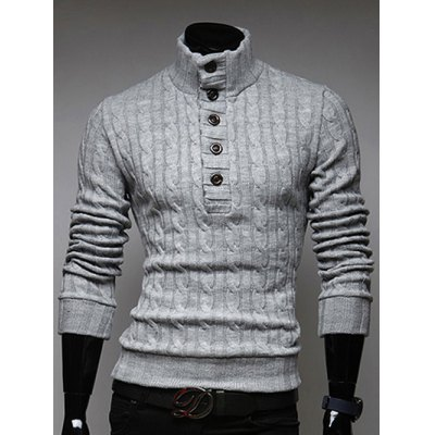 Stand Collar Half Button Up Twist Sweater