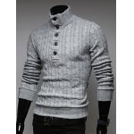 cheap Stand Collar Half Button Up Twist Sweater