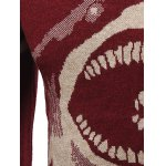 Shark Pattern Striped Crew Neck Sweater for sale