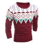 cheap Geometric Pattern Ribbed Crew Neck Sweater