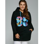 cheap Plus Size Colorful Number Print Drawstring Hoodie