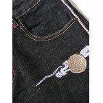 Zipper Fly Plus Size Chinoiserie Embroidered Straight Leg Jeans for sale