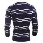 Geometric Pattern Crew Neck Flat Knitted Sweater deal