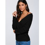 cheap Crisscross Surplice Pullover Sweater