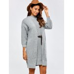 cheap High Neck Belted Sweater Dress and Collarless Cardigan