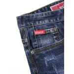 Zipper Fly Plus Size Bleach Wash Embroidery Straight Leg Jeans for sale