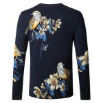 cheap Bird Floral Print Pullover Sweater