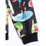Plus Size Cartoon Print Zippered Jacket for sale