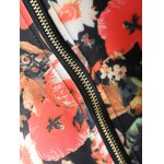 Plus Size Floral Print Zippered Jacket for sale