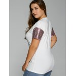 Plus Size Drop Shoulder Sequined Sleeve T-Shirt deal