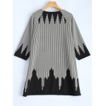 cheap Plus Size 3/4 Sleeve Striped T-Shirt