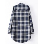 cheap Long Sleeve Checked Long Shirt