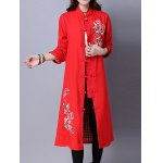 cheap Frog Button Embroidered Long Coat
