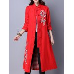 Frog Button Embroidered Long Coat