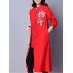 Frog Button Embroidered Long Coat deal