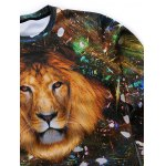 Crew Neck 3D Lion Starshine Printed Long Sleeve Sweatshirt deal