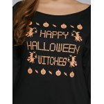 Plus Size Long Sleeve Graphic Hallowmas T-Shirt for sale