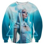 3D Triangle Crucifix Goddess Printed Long Sleeve Sweatshirt