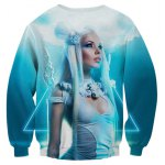 cheap 3D Triangle Crucifix Goddess Printed Long Sleeve Sweatshirt