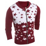cheap Stand Collar Star Pattern Cardigan