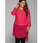 Plus Size High Low Hem Sheer Blouse deal