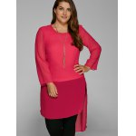 Plus Size High Low Hem Sheer Blouse