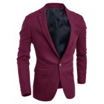 cheap Back Vent Notch Lapel Breasted Pocket One-Button Blazer